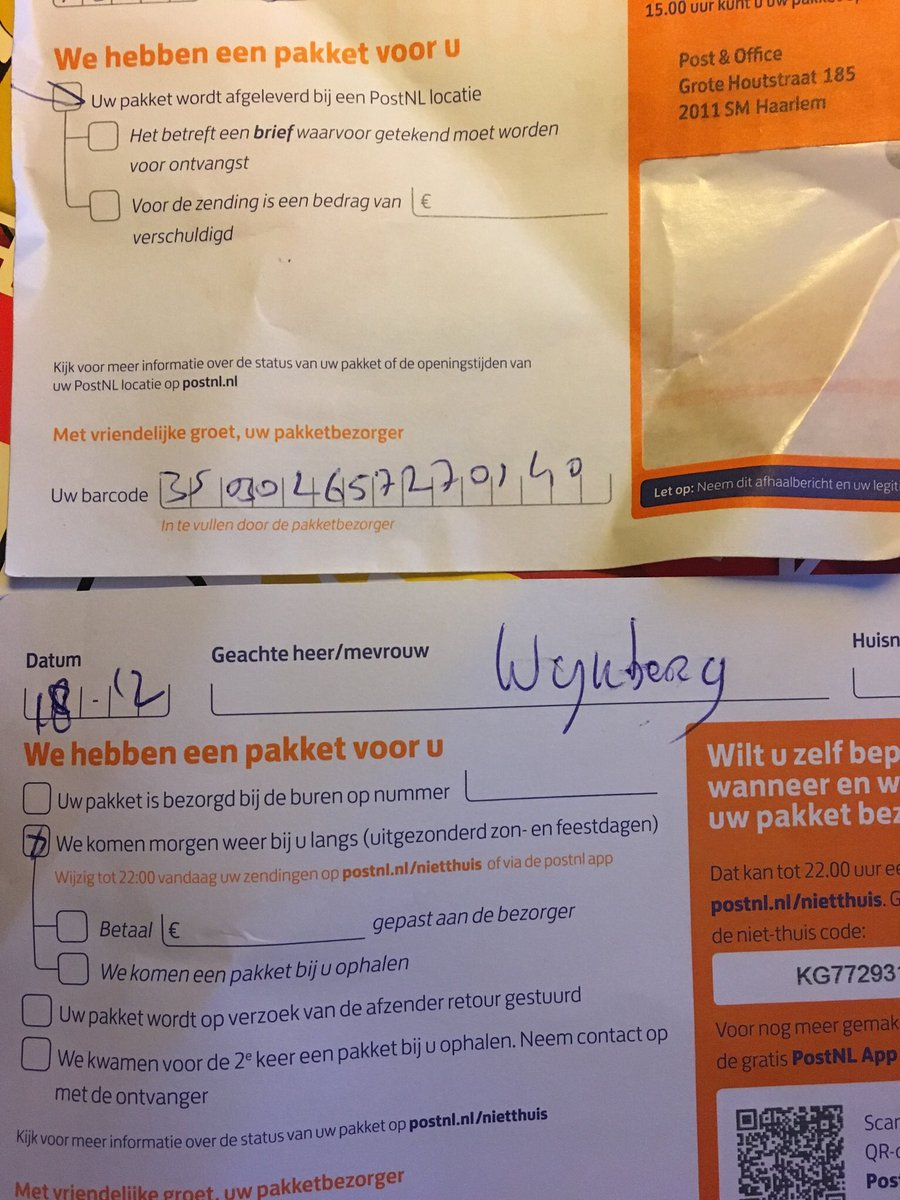 Tnt Pakket Postnl On Twitter