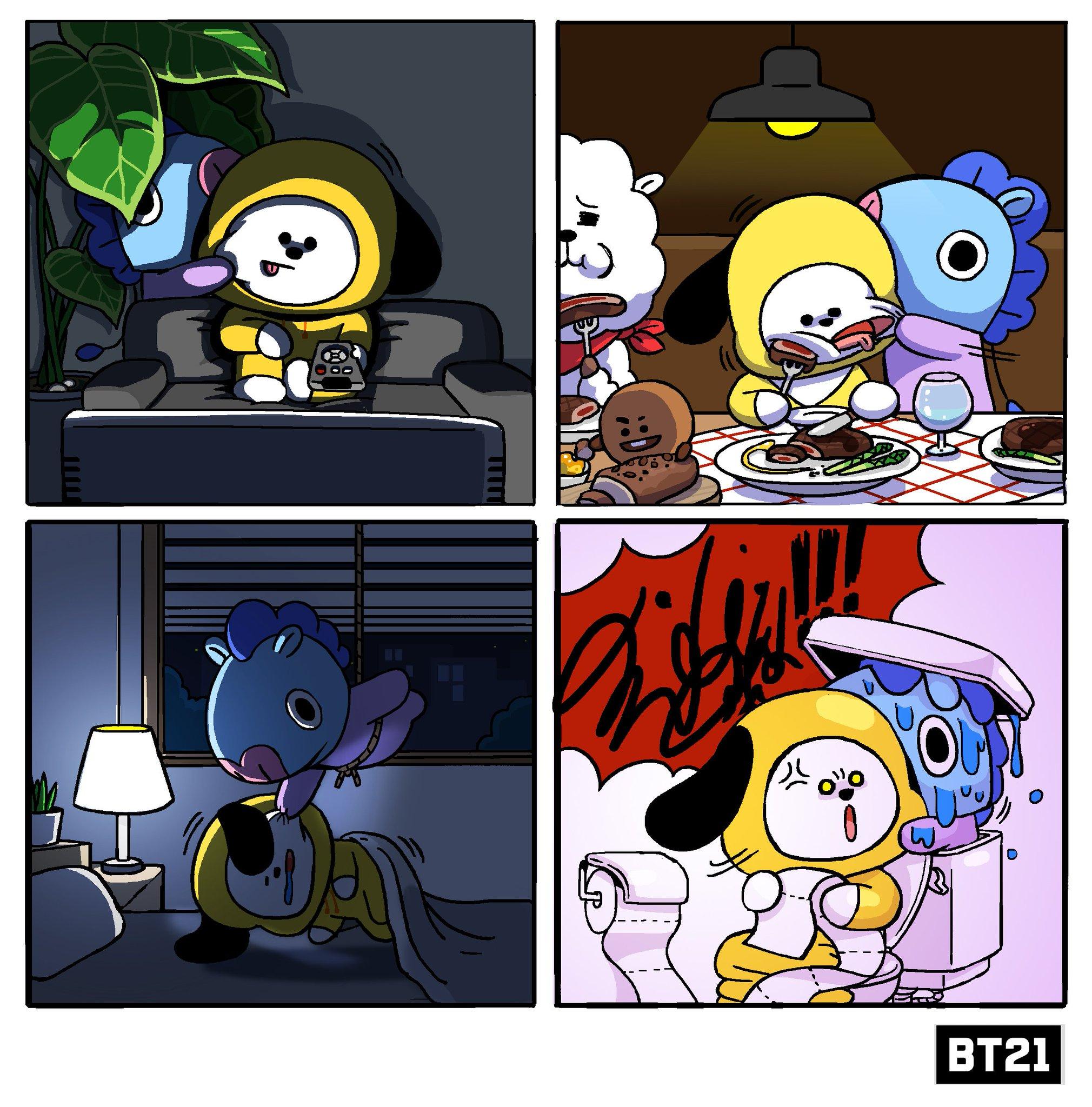 Cute Bts Drawings Wallpaper Bt21 On Twitter Quot Mang Loves Chimmy S Cheek