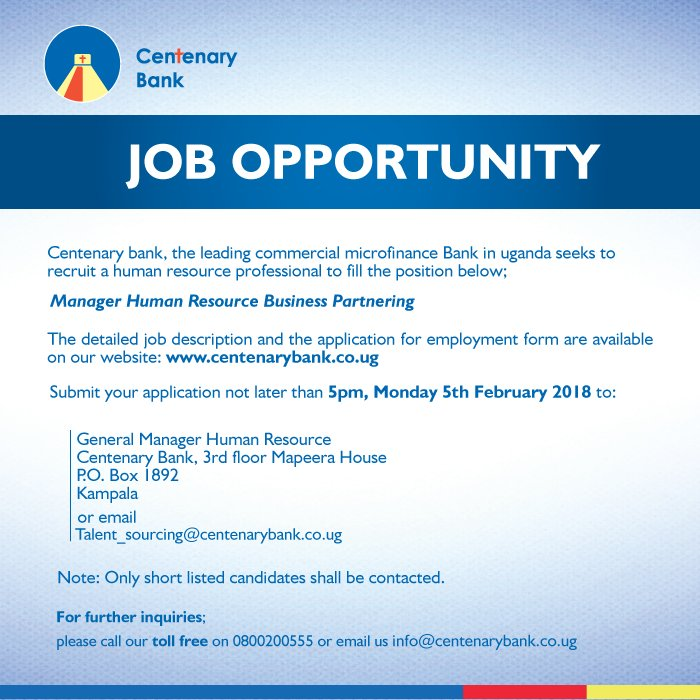 Centenary Bank on Twitter \ - human resource job description