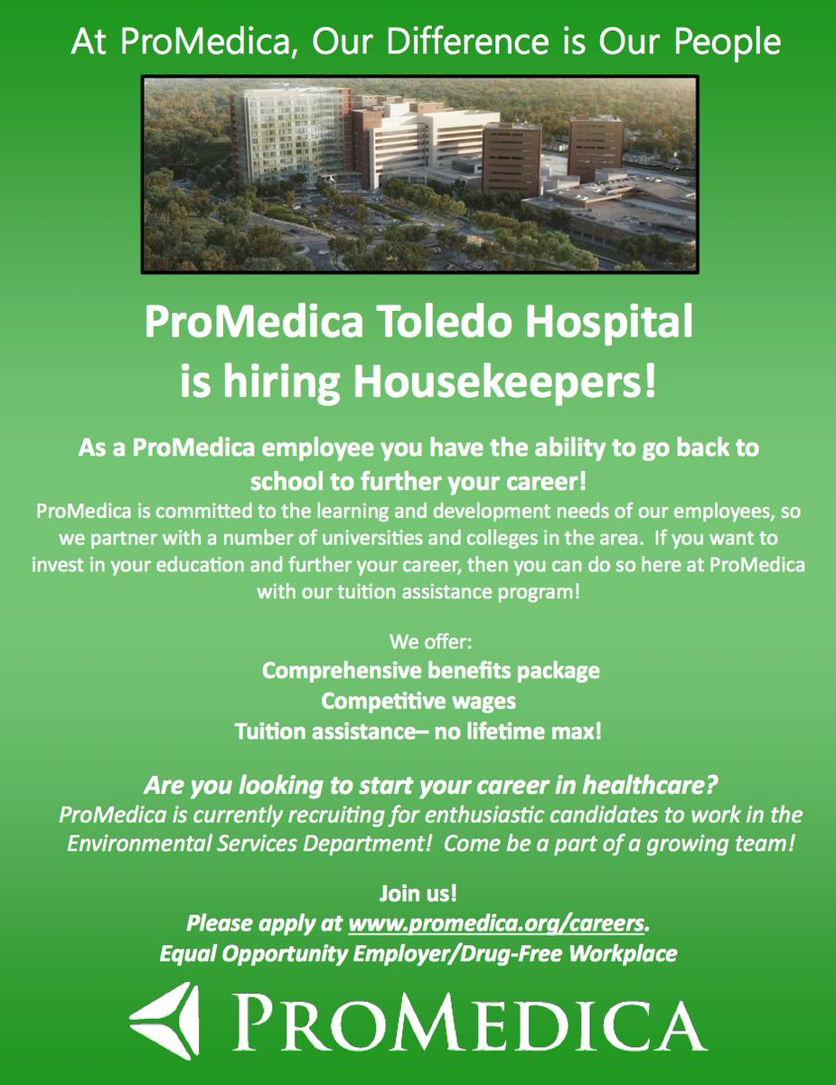 Housekeeping Openings Promedica On Twitter