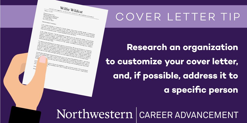 NU Career Advance on Twitter \ - reasons why you should customize your cover letter