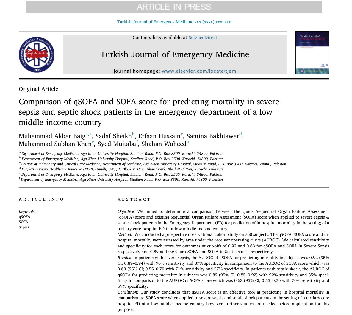 Difference Between Qsofa And Sofa Turk J Emerg Med On Twitter