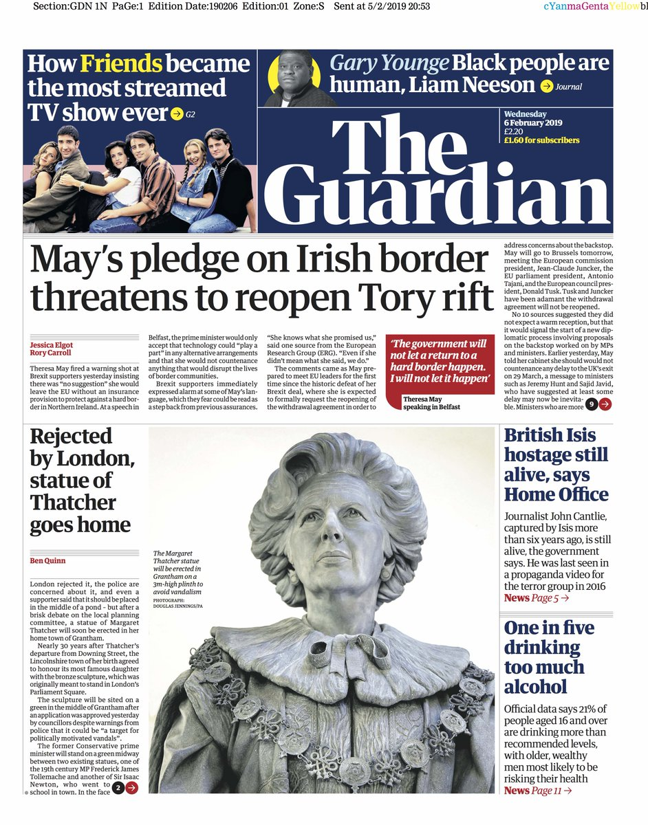 Wednesday 6 February 2019 Guardian Front Page Wednesday 6 February 2019 May S Pledge On