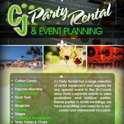 CJ Party Rental (@CjPartyRental) Twitter - party rental flyer