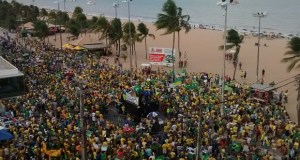Manifestação em João Pessoa ficou concentrada no Busto de Tamandaré (Foto: Diogo Almeida/G1)