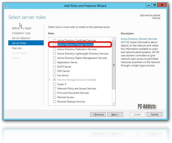 Server 2012 Server Roles AD DS