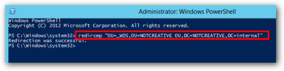 Server 2012 redircmp change default OU