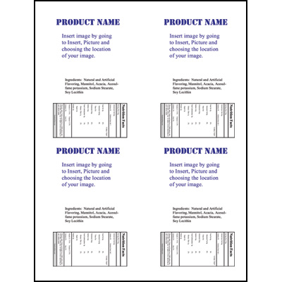 Label Sheet LLS-4X5 4UP Jar Template (Portrait) for Microsoft Publisher - 4up template