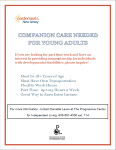 COMPANION CARE NEEDED FOR YOUNG ADULTS.