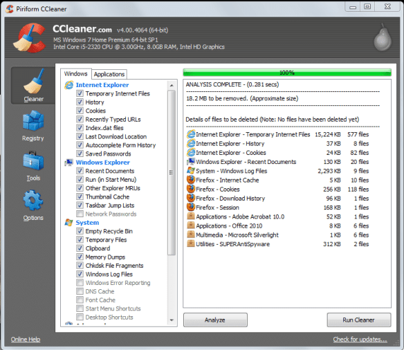 CClean1 Guide to Speed Up Internet Explorer