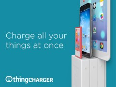 Several thingCharger's stacked together with devices charging ontop.