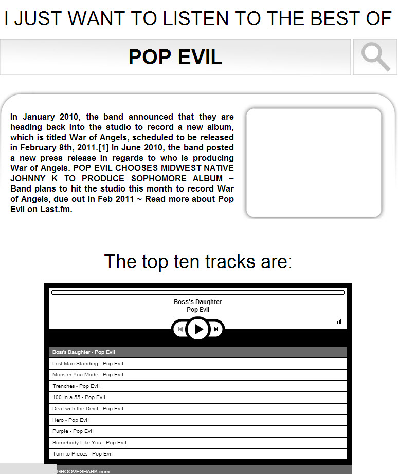 Here my friend is recommending Pop Evil. I like it. No need for more cowbell.