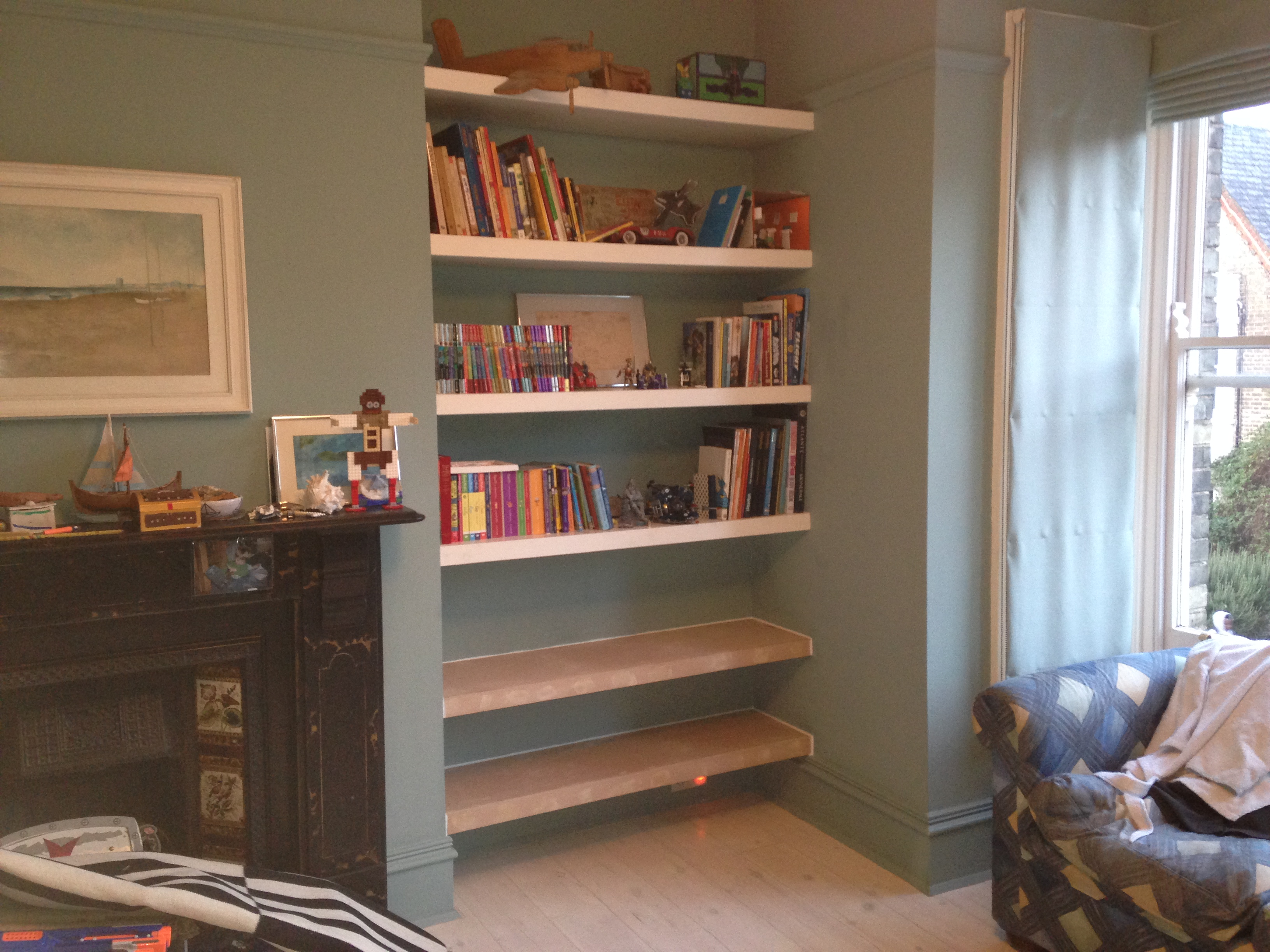 Bookcase Fitted Shelving, Cupboards And Flooring - P D Carpentry