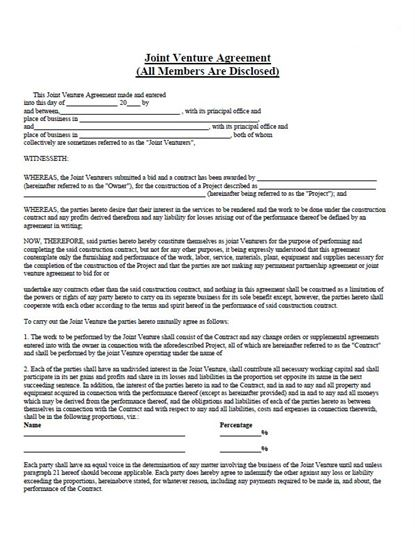 Partnership Agreement Pdf Download Gallery - Agreement Letter Format - construction partnership agreement template