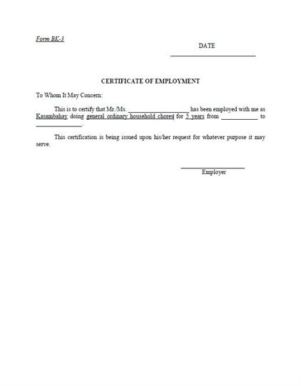 Free Employment Certificate Template