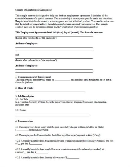 Free Employment Contract Template