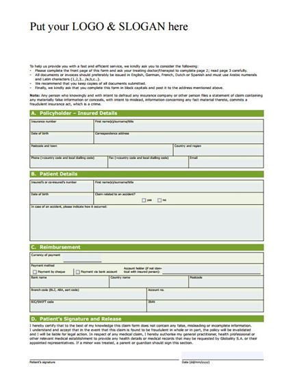 Free Health Insurance Claim Template - medical claim form