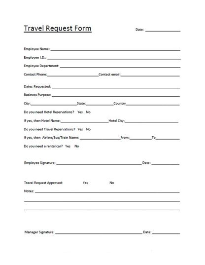 Free Travel Request Template