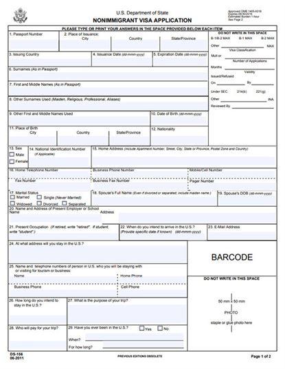 Free Nonimmigrant Visa Application Form