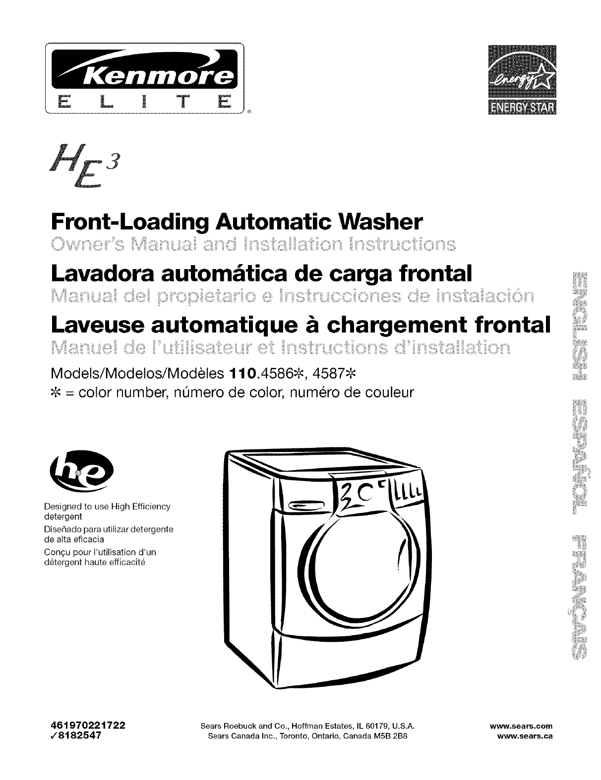 Sears Washer And Dryer Canada Kenmore Washer 110 4587 User Guide Manualsonline