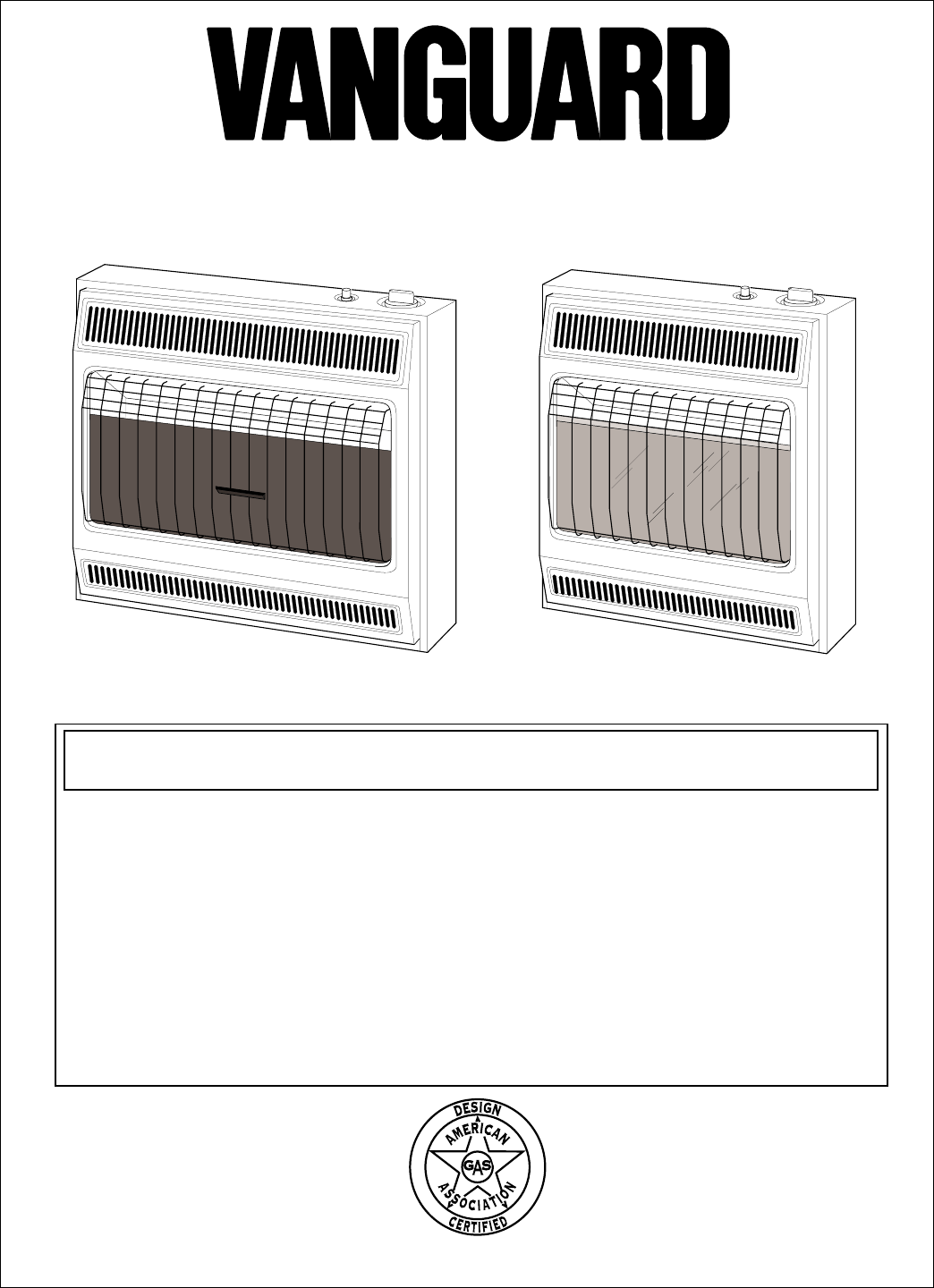 Vanguard Heating Gas Heater Vgp30b User Guide