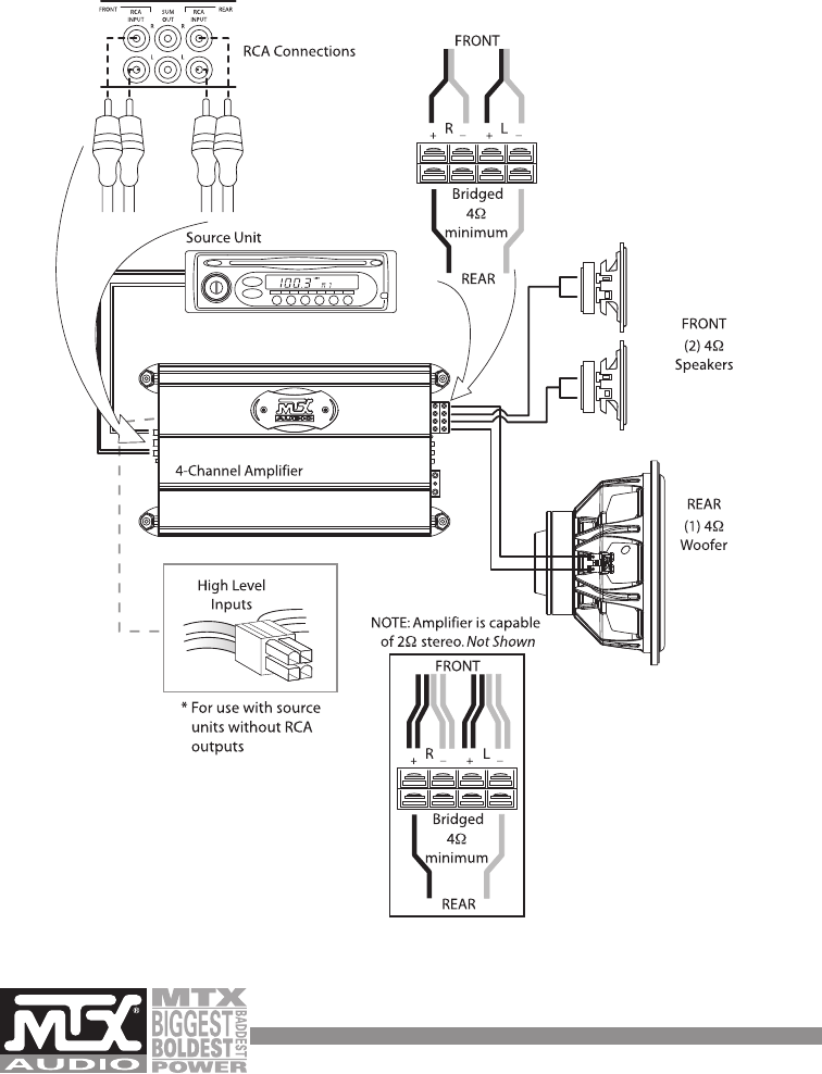 4 channel amp wiring diagram 1 sub