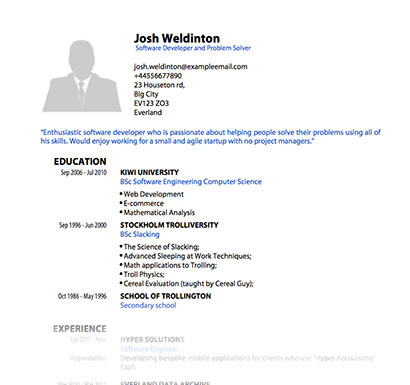 PDF templates for CV or Resume pdfCV - a great cv example