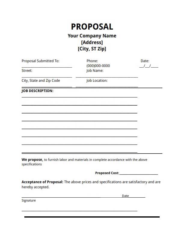 free job proposal templates