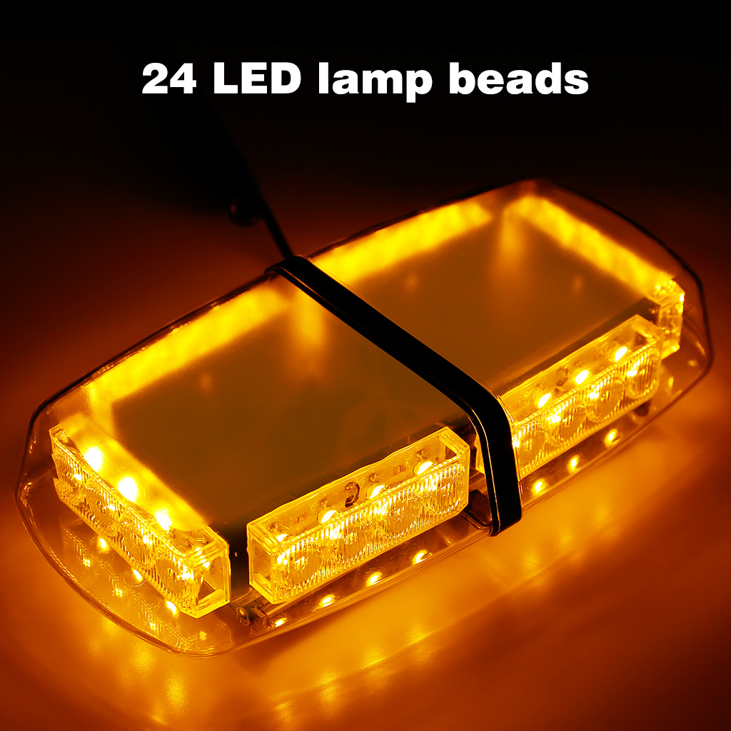 Amber Led 12v Amber 24 Led Vehicle Roof Lightbar Flashing Beacon