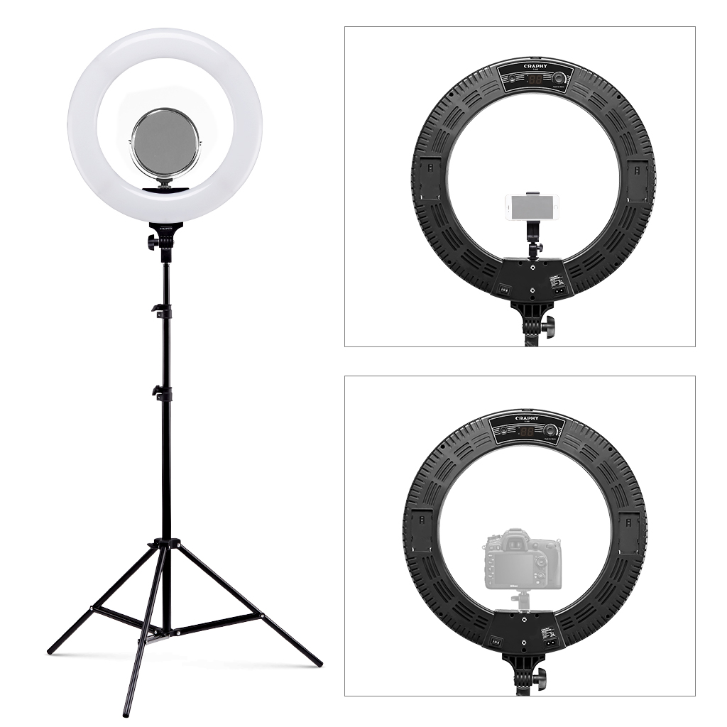 Ring Licht 18 Led Ring Light Bi Color Dimmable Studioleuchten 3200k 5600k