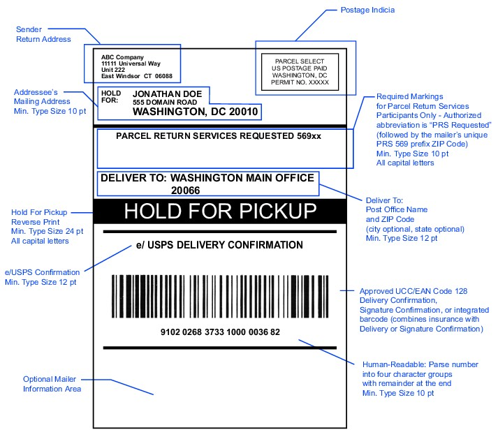 Shows the format for a Hold For Pickup address label - address label format