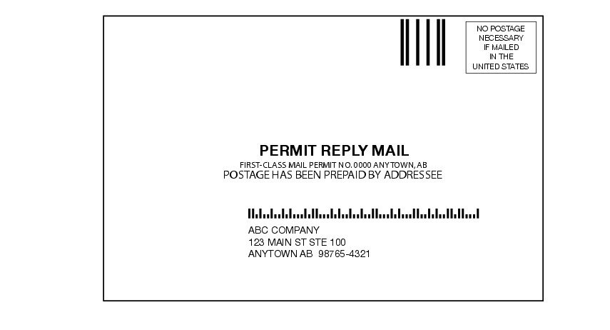 Shows the format elements for Permit Reply Mail label as described