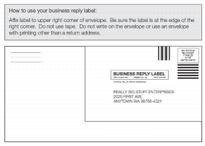 505 Quick Service Guide Postal Explorer - response envelope sizes