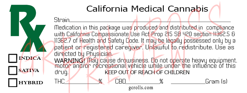 California Medical Cannabis Label Template Auto Download - Payhip