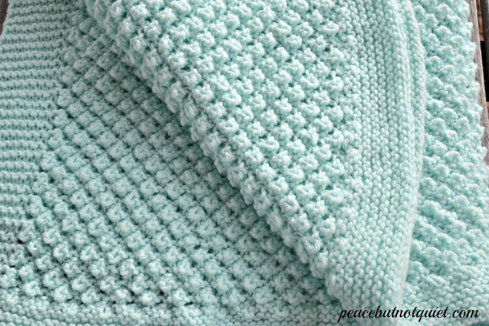 Baby Knitting Patterns Online : Easy Knitting Patterns -- Popcorn Baby Blanket Peace but Not Quiet