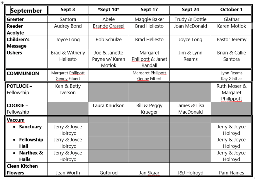 09-2017 Volunter Roster
