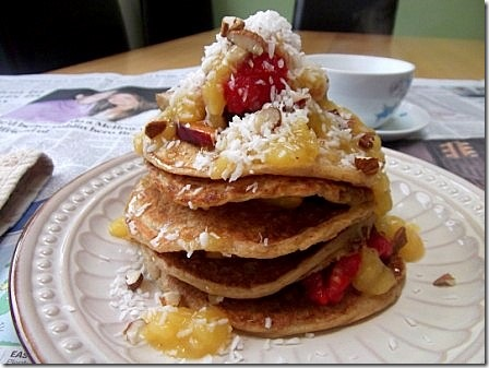 Vegan Peachy Pancake Stack