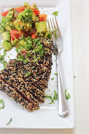 Tuna Sesame Seared Steak with Avocado Salsa (26)
