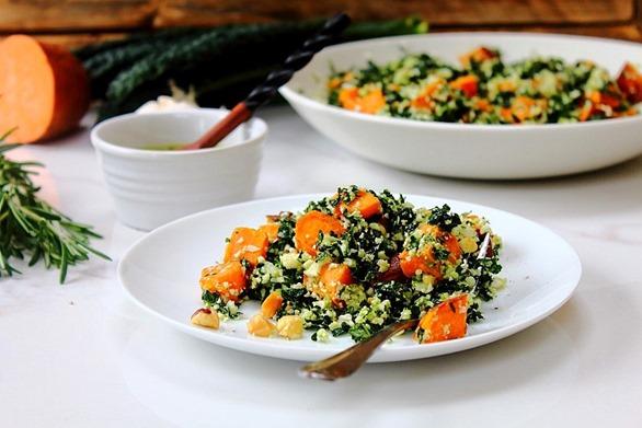 Thanksgiving Sweet Potato Kale Cauliflower Rice Salad (26)