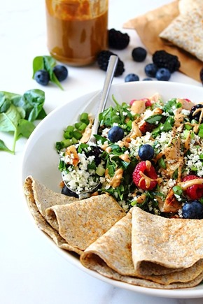 Berry Sunbutter Rice Salad Paleo with Flax Coconut Flour Wraps (16)