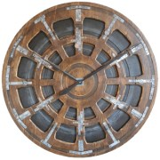 """Extra Large Industrial Wall Clock. 40"""" Handmade from two panels of pine wood with metallic features to add character"""