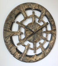 Oversized Unique Wall Clock Handmade of Wood and Hand Painted