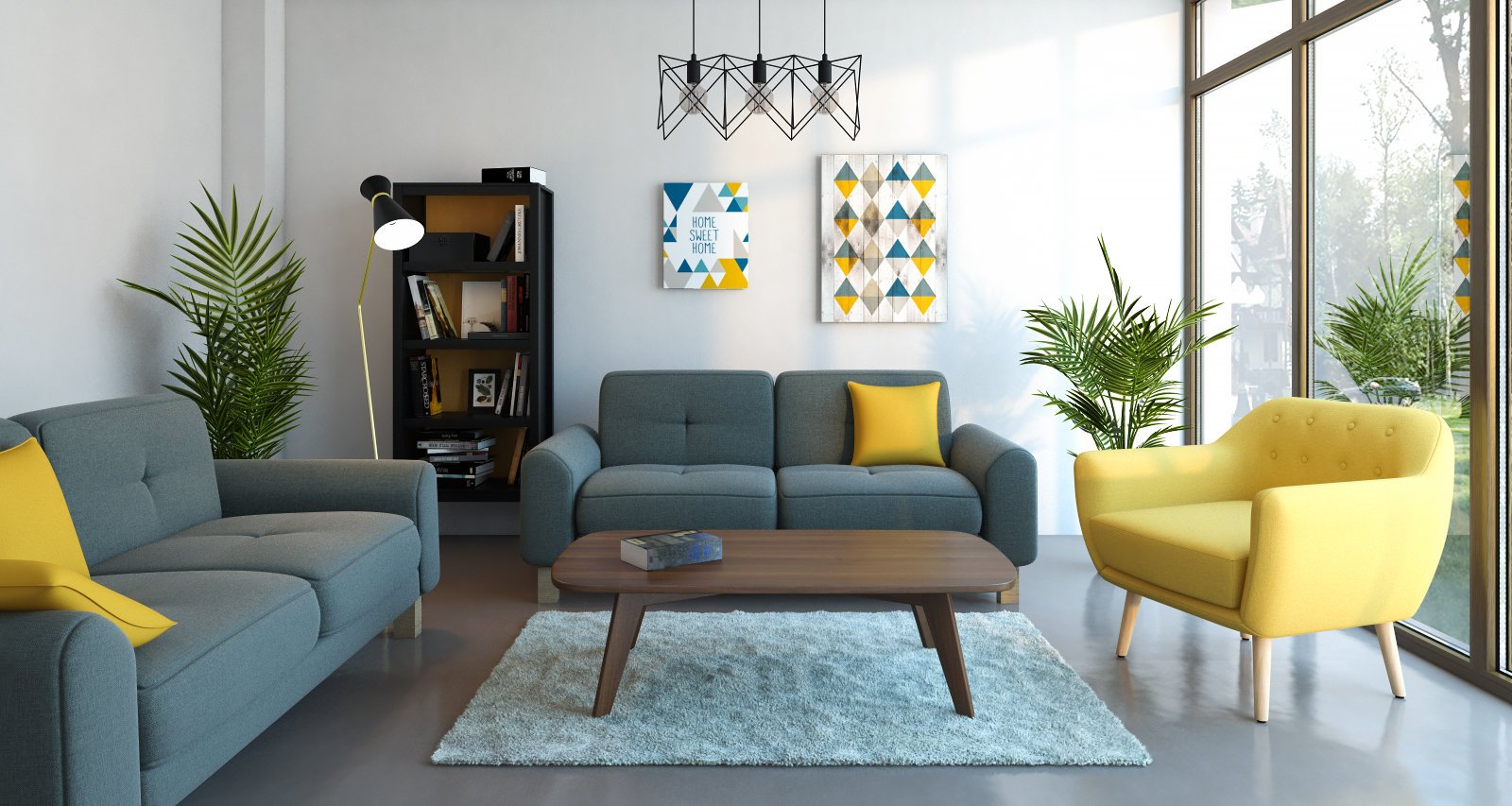 Salon Jaune Et Bleu Salon Scandinave Gris Bleu Jaune Pearlfection Fr