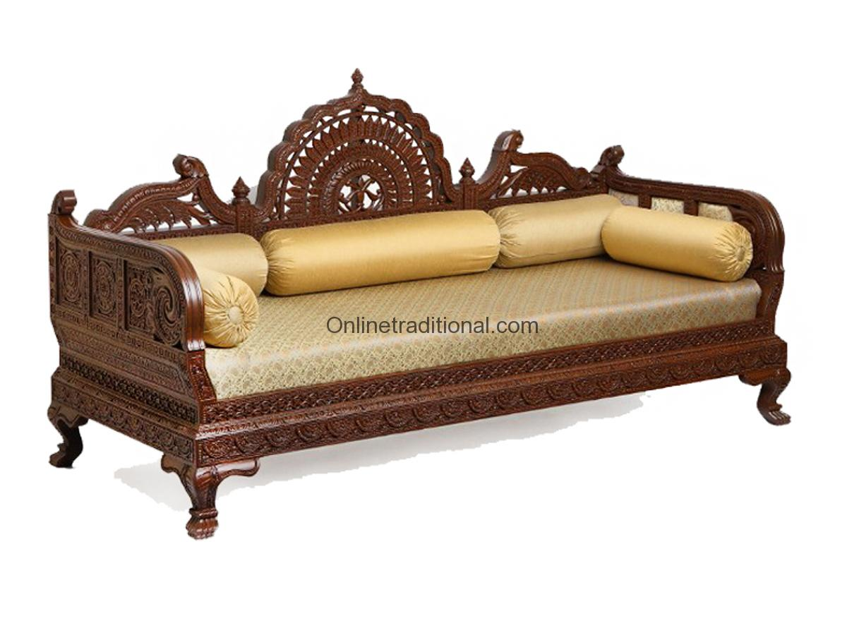 Sofa Set Furniture Diwan Design Carving Teak Wooden Maharaja Sofa Sets Pearl
