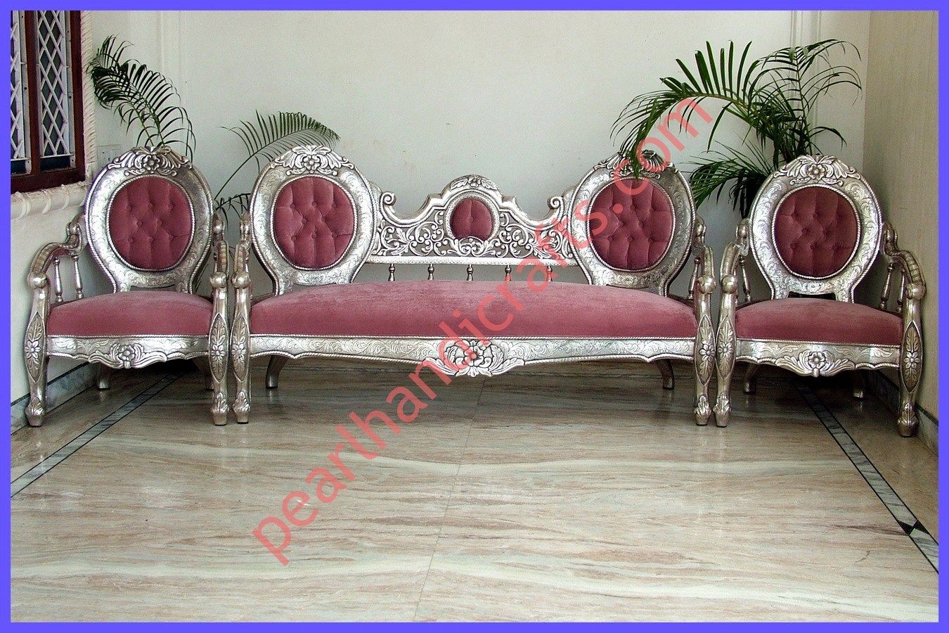 Sofa Set Furniture Diwan Silver Sofa Set Carved Wooden For Home Pearl Handicrafts