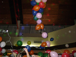 Balloons fall at midnight