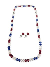 PATRIOT COLLECTION USA Pearl Necklace, Bracelet, & Earring ...