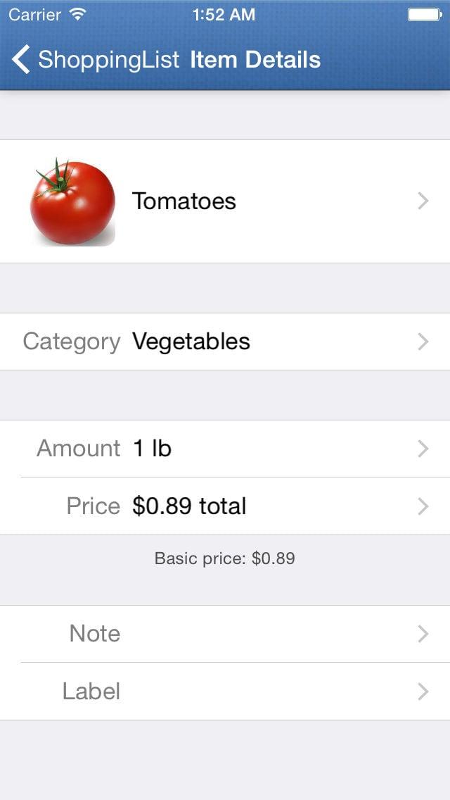 iOS ShoppingList