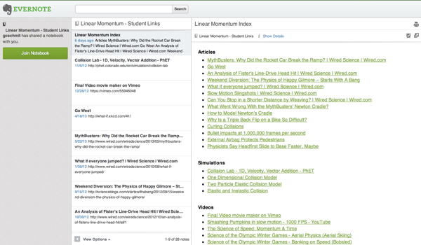 Evernote Web Interface