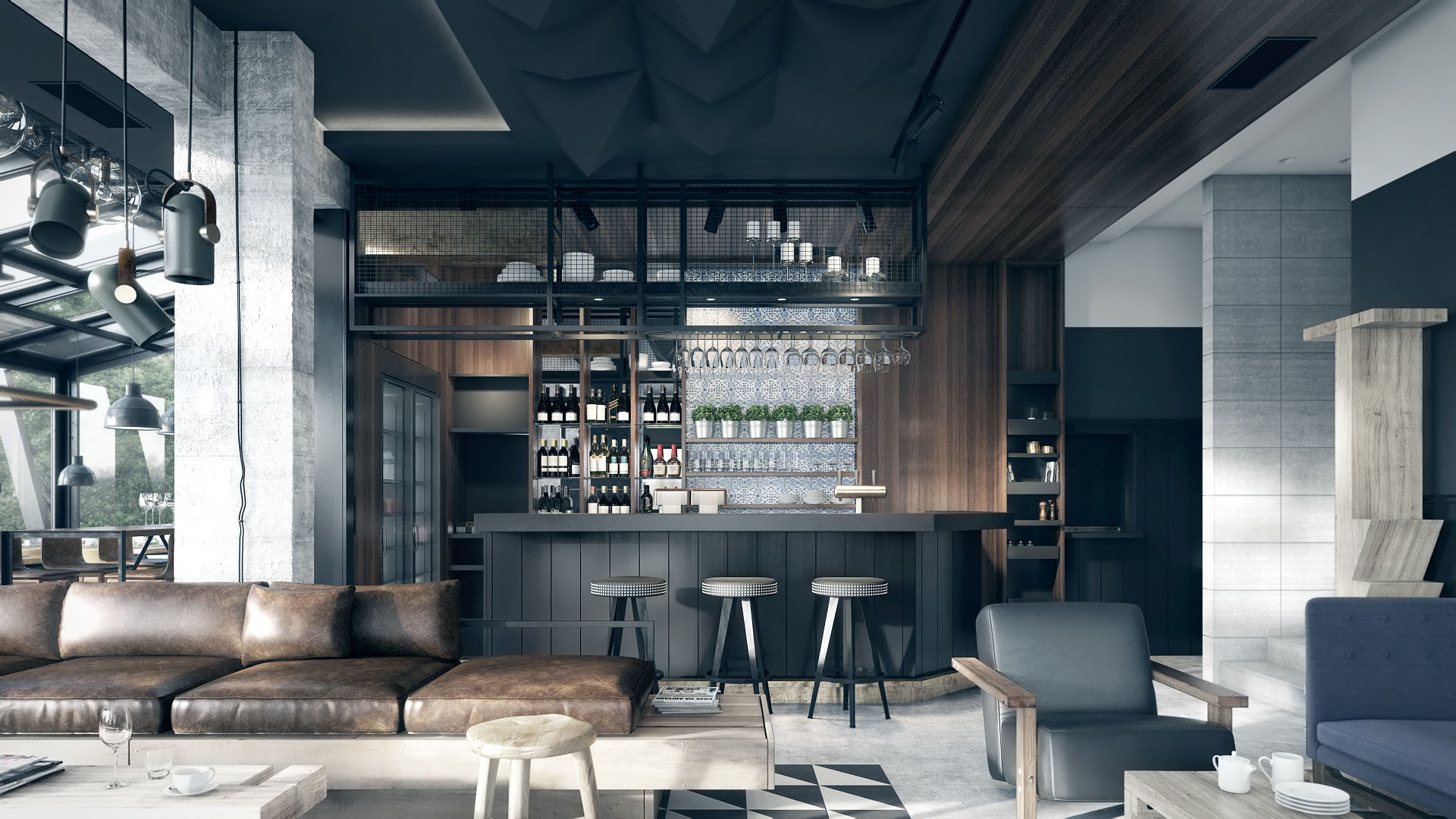 3d Home Design Pedjapetkovic | Mountain Hotel Restaurant Interior